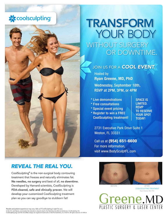 Coolsculpting event september 18th Weston, Florida