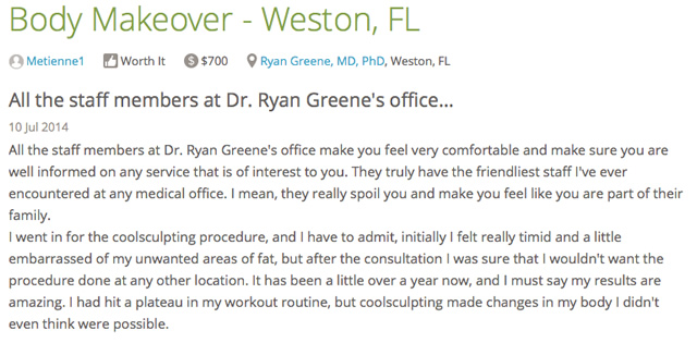 South Florida CoolSculpting Testimonial